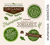set of organic health food... | Shutterstock .eps vector #266065256