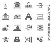set of cyber virus digital... | Shutterstock .eps vector #266067542