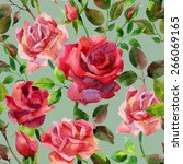 seamless pattern with red roses.... | Shutterstock . vector #266069165