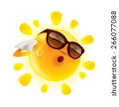 summer sun feeling hot and... | Shutterstock .eps vector #266077088