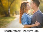 cheerful couple having fun on... | Shutterstock . vector #266095286