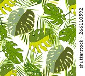 palm and monstera leaves... | Shutterstock .eps vector #266110592