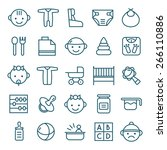 baby icons set in thin line... | Shutterstock .eps vector #266110886