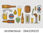 vector linear icons of beer. | Shutterstock .eps vector #266124215