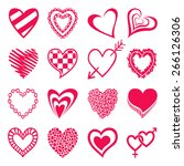 set of heart shaped icons.... | Shutterstock . vector #266126306