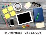 desk  overhead  gadget. | Shutterstock . vector #266137205