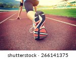 young woman runner getting... | Shutterstock . vector #266141375