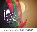 elegant colorful eid mubarak... | Shutterstock .eps vector #266160185