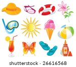 summer and travel icon set on... | Shutterstock .eps vector #26616568