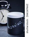 black tea cup with alarm clock... | Shutterstock . vector #266169662