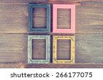 photo frame on wooden... | Shutterstock . vector #266177075