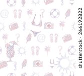 summer icons vector seamless... | Shutterstock .eps vector #266192822
