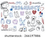 set of hand drawn doodles baby...   Shutterstock .eps vector #266197886