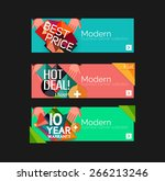 set of banners with stickers ... | Shutterstock .eps vector #266213246