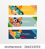 set of banners with stickers ... | Shutterstock .eps vector #266213252