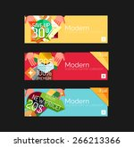 set of banners with stickers ... | Shutterstock .eps vector #266213366