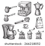 set coffee making equipment | Shutterstock .eps vector #266218052