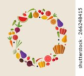 flat vector vegetables and... | Shutterstock .eps vector #266248415