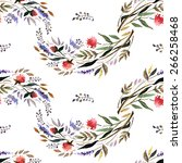 watercolor floral pattern with... | Shutterstock .eps vector #266258468