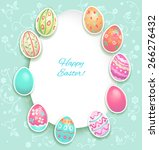 easter holiday card with eggs... | Shutterstock .eps vector #266276432
