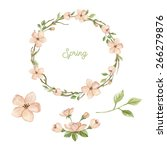 watercolor wreath with spring... | Shutterstock . vector #266279876