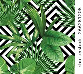 print summer exotic jungle... | Shutterstock .eps vector #266281208