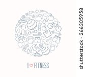 fitness and exercise vector... | Shutterstock .eps vector #266305958