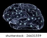 Human brain and neurons - stock photo