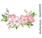 vector drawn watercolor wreath... | Shutterstock .eps vector #266320295