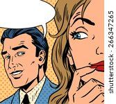 man calls woman retro style... | Shutterstock .eps vector #266347265