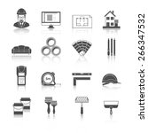 Architecture, Interior design and repairs vector black icons set | Shutterstock vector #266347532