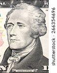 Small photo of U.S. President Alexander Hamilton on the ten dollar bill.