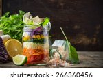bright rainbow salad  of... | Shutterstock . vector #266360456