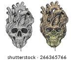skull heart | Shutterstock .eps vector #266365766