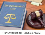a law book with a gavel  ... | Shutterstock . vector #266367632