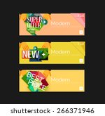 set of banners with stickers ... | Shutterstock .eps vector #266371946