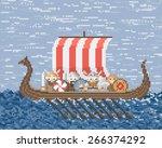 vikings sail on a ship at sea ...