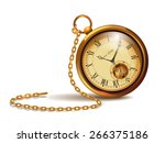 gold vintage clock with roman...   Shutterstock .eps vector #266375186