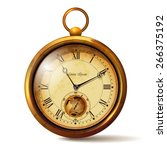 gold vintage clock with roman... | Shutterstock .eps vector #266375192