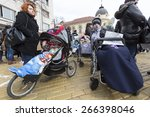 Small photo of Sofia, Bulgaria - April 3, 2015: Parents and relatives of physically disabled children and adults are protesting against state laws which they consider discriminatory.