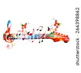 colorful music design with... | Shutterstock .eps vector #266398862