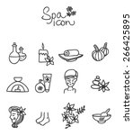 vector set with doodle spa icon ... | Shutterstock .eps vector #266425895