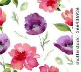 watercolor flowers seamless... | Shutterstock .eps vector #266436926