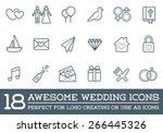 set of vector wedding love... | Shutterstock .eps vector #266445326