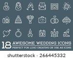 set of vector wedding love... | Shutterstock .eps vector #266445332