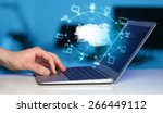 hand working with a cloud... | Shutterstock . vector #266449112