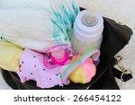 women's handbag with items to...   Shutterstock . vector #266454122