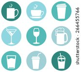 Vector Set Of Drinks Icons. Te...