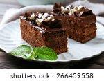 Tasty Pieces Of Chocolate Cake...
