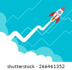 the rocket takes off against... | Shutterstock .eps vector #266461352